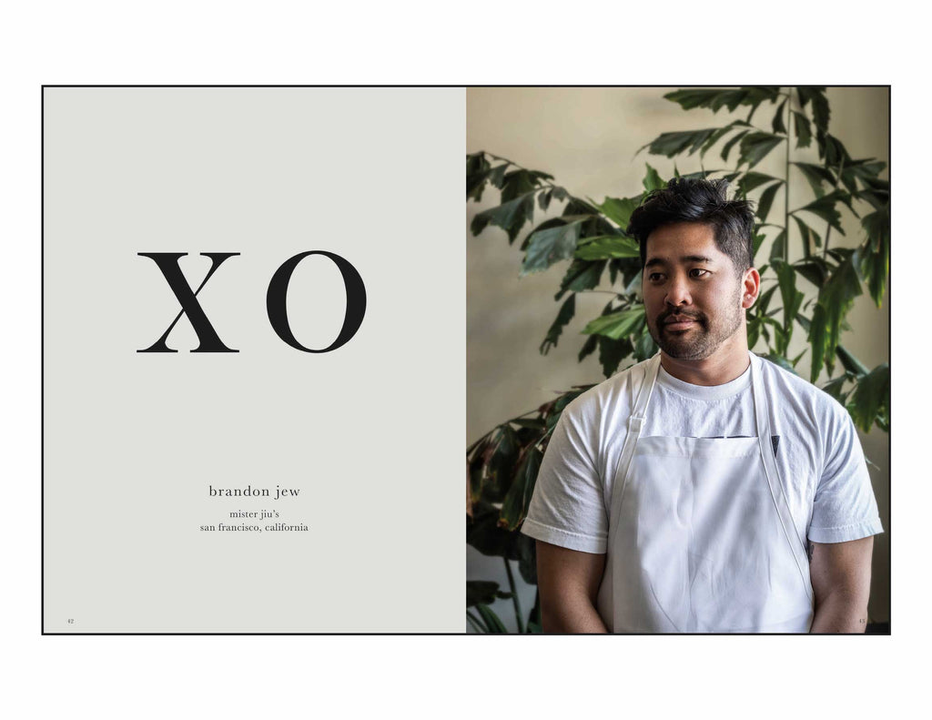 Toothache Magazine issue 5. Brandon Jew of Mister Jiu's, Making XO Sauce. A magazine made for chefs by chefs. Features food articles, interviews, and recipes from world class chefs.