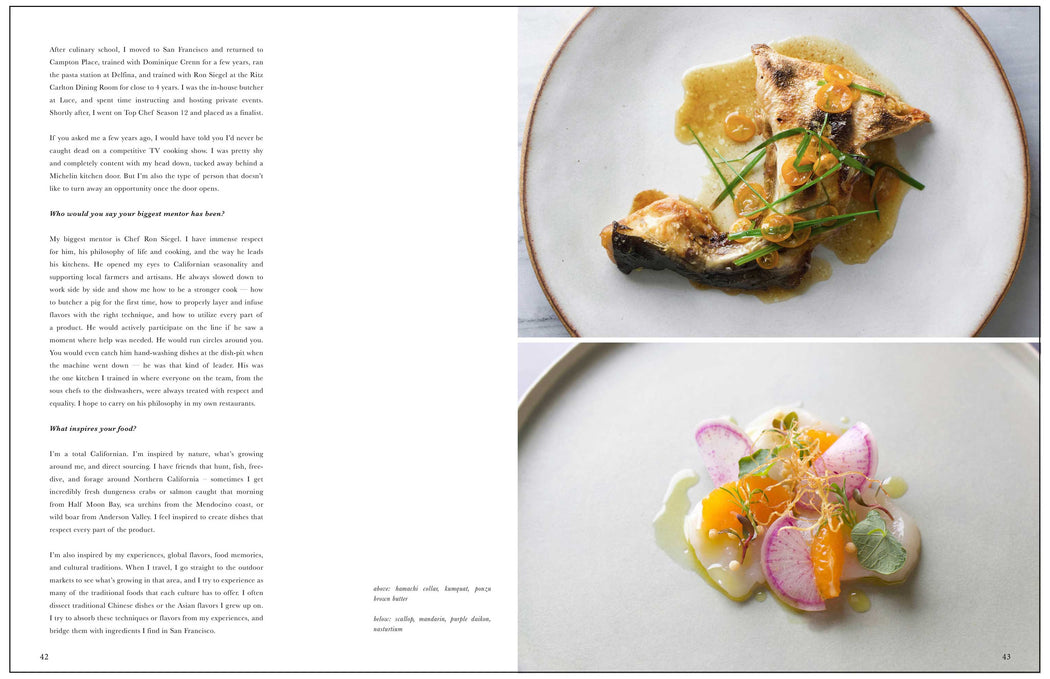Toothache Magazine issue 3. Melissa King Hamachi and Scallops. A magazine made for chefs by chefs. Features food articles, interviews, and recipes from world class chefs