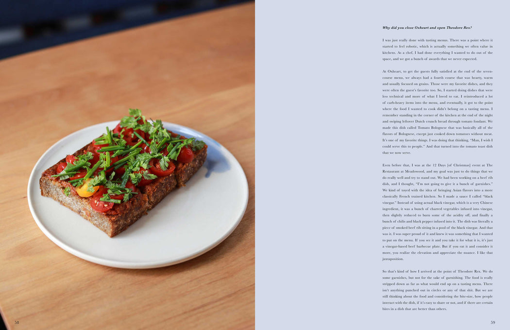 Toothache Magazine issue 4. Justin You, tomato toast. A magazine made for chefs by chefs. Features food articles, interviews, and recipes from world class chefs