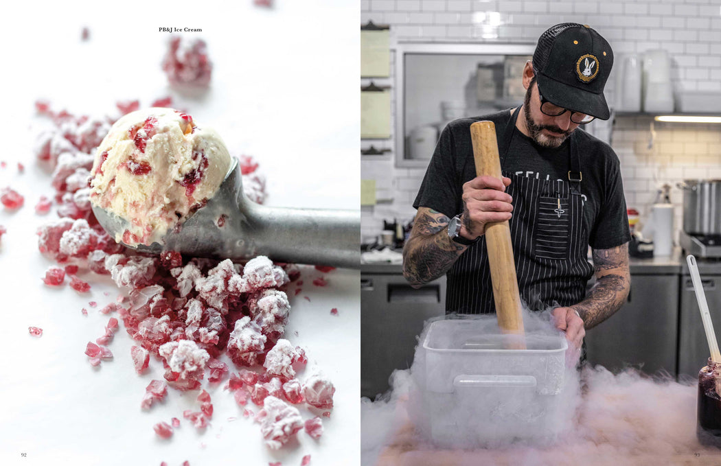 Toothache Magazine issue 6 - Sam Mason using liquid nitrogen and odd fellows ice cream. A magazine made for chefs by chefs. Features food articles, interviews, and recipes from world class chefs.