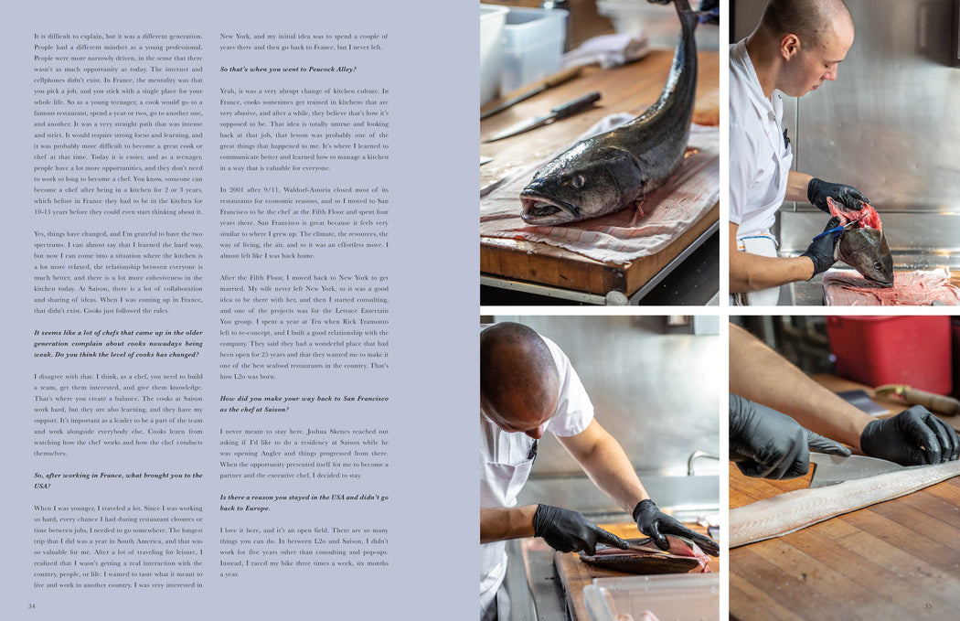 Toothache Magazine issue 6 - Laurent Gras, Saison Restaurant fish butchery. A magazine made for chefs by chefs. Features food articles, interviews, and recipes from world class chefs.