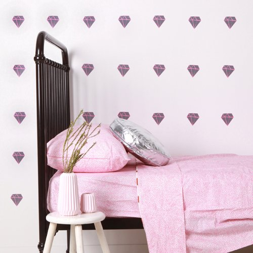 Sticker-mural-chambre-diamants-gris-rose-lovemae