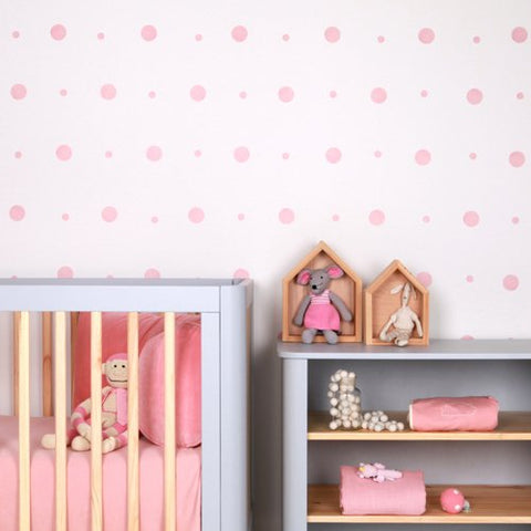 Sticker-mural-chambre-fille-pois-rose-lovemae