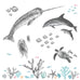 Grand sticker mural Animaux marins