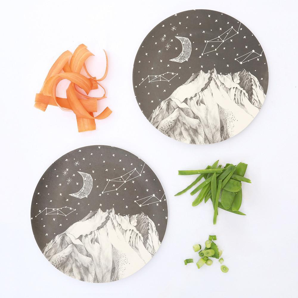 2 large dinner plates - Mountain