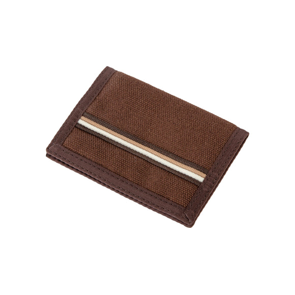 Hemp Bi-fold Wallet - Brown with Earthtone Stripe