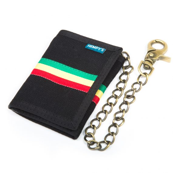 Hemp Tri-fold Chain Wallet - Black Rasta