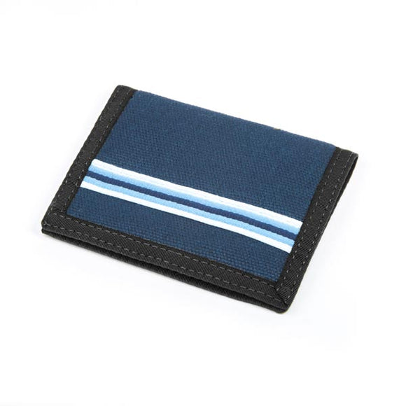 Hemp Bi-fold Wallet - Blue with Blue Stripe