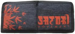 Hemp Leaves Bi-Fold Wallet - Denim