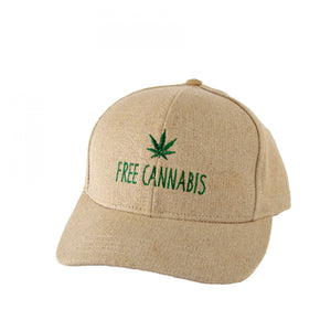 Free Cannabis Hemp Baseball Hat - Natural