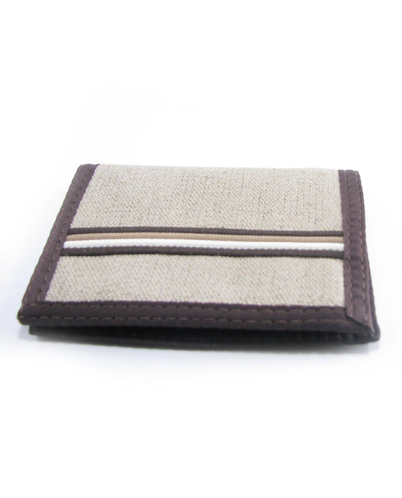 Hemp Bi-fold Wallet - Natural Earthtone Stripe