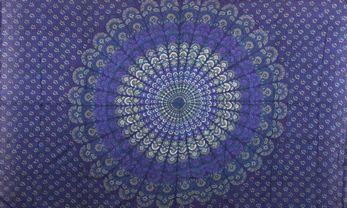 Sanganeer Peacock Tapestry - Single - Blue