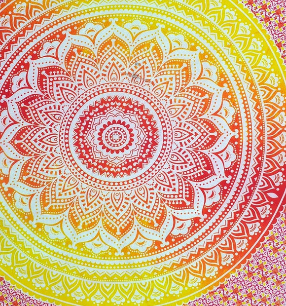 Mandala Tapestry - Yellow/Orange