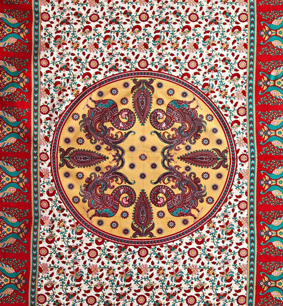 Peacock Mandala Tapestry - Red