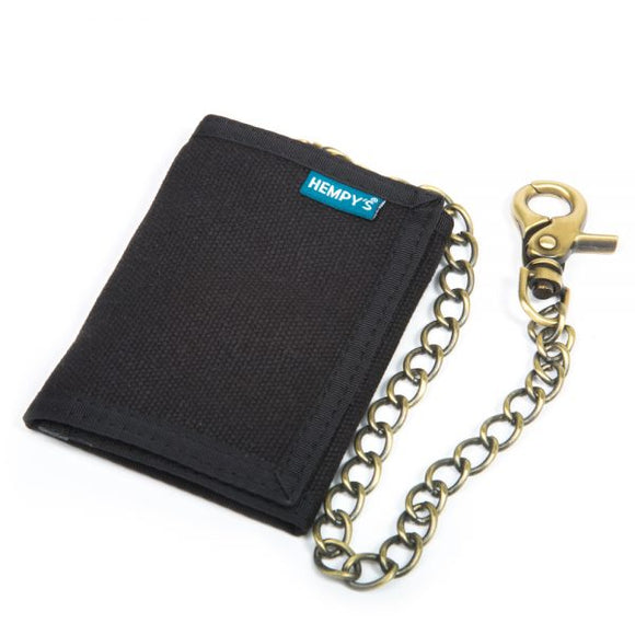 Hemp Tri-fold Chain Wallet - Black