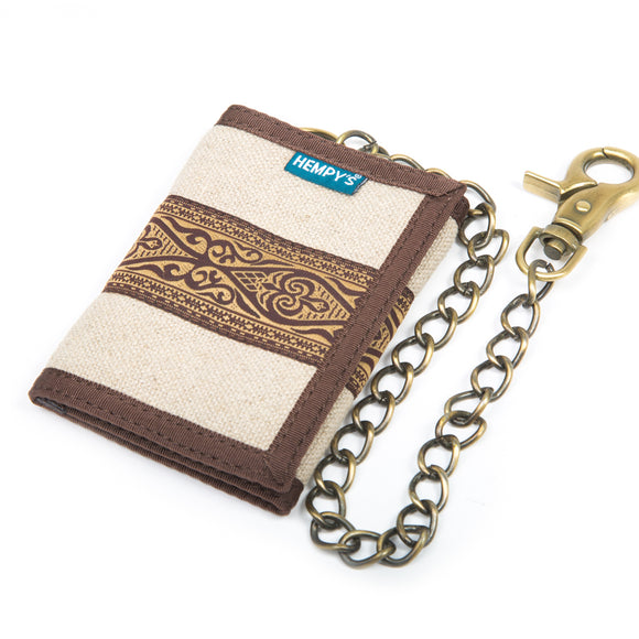 Hemp Tri-fold Chain Wallet - Natural Tribal