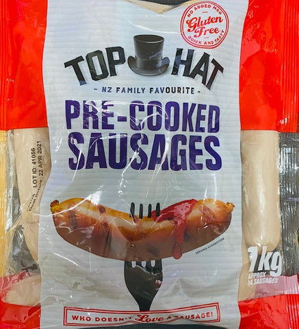 1Kg Top Hat Pre-Cooked Sausages - Plain
