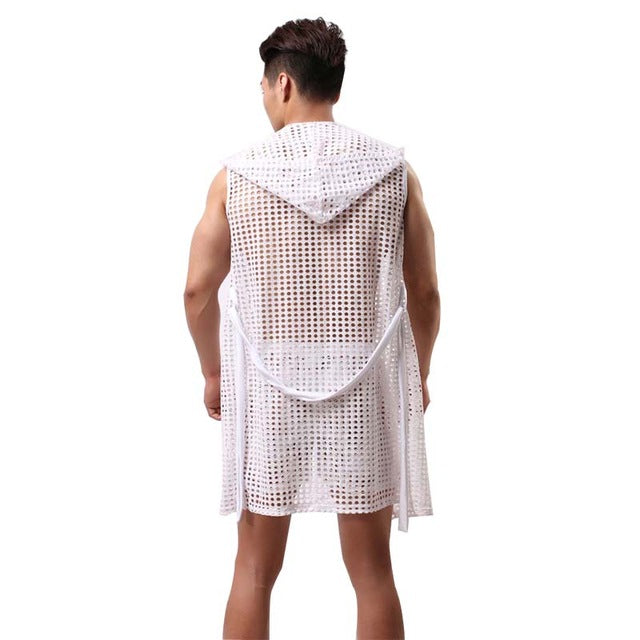 Men Sexy Fishnet Transparent Hooded Bathrobe Nightgowns