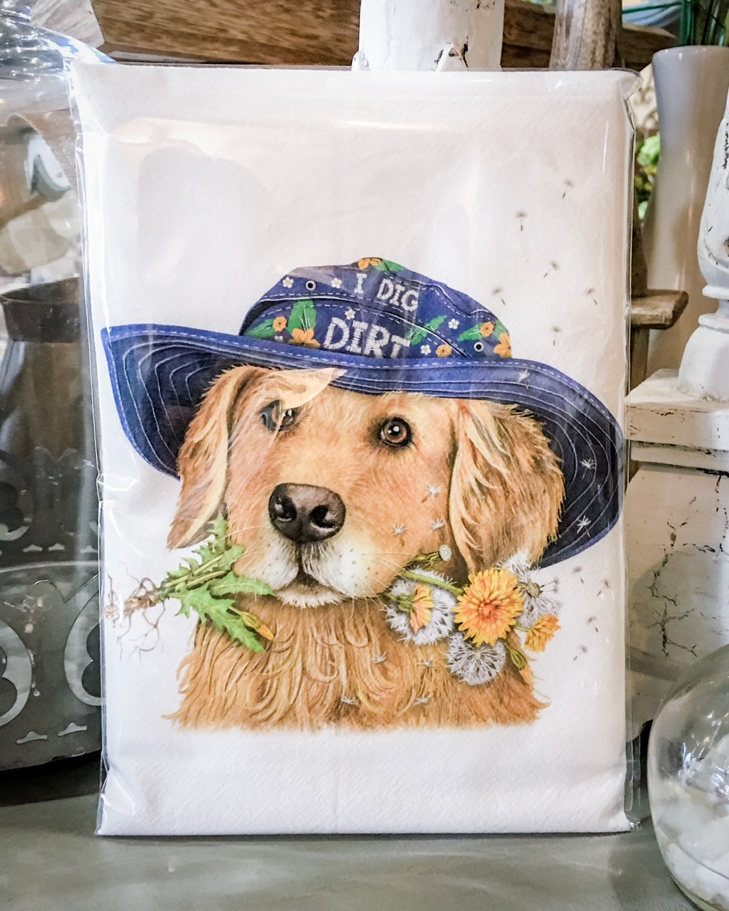 Tea Towel Dog Golden in Hat