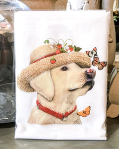 Tea Towel Dog Yellow Lab