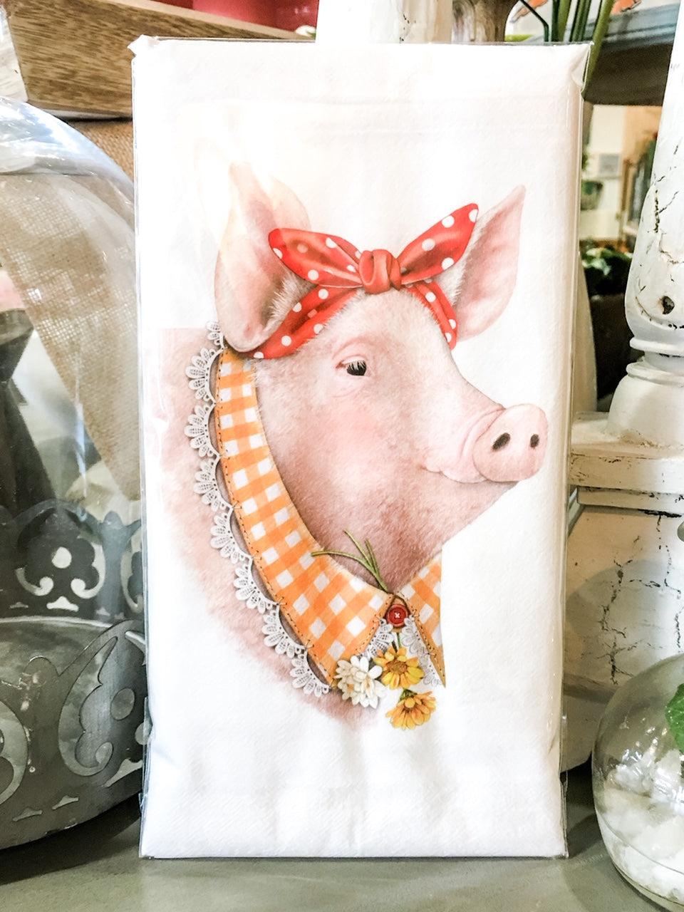 Tea Towel Farm Pig
