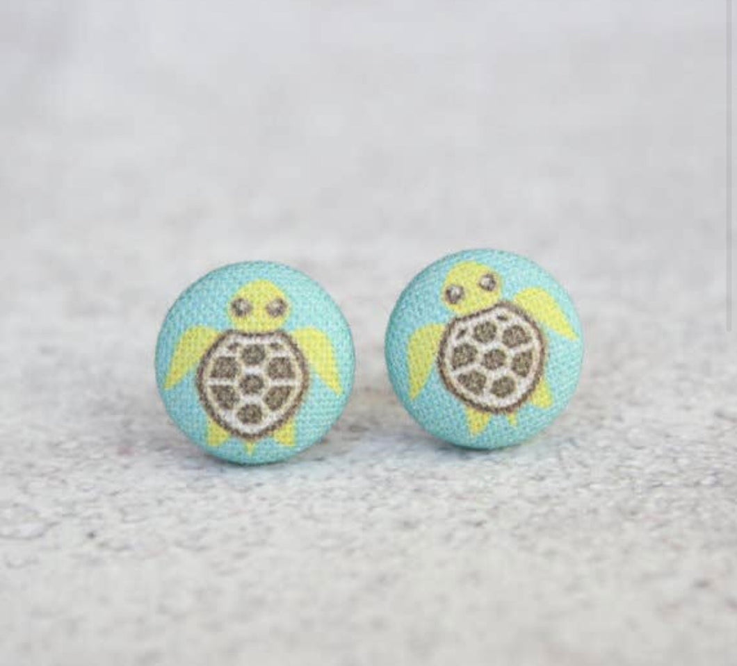 Earring Button Stud Turtle