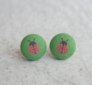 Earring Button Stud Lady Bug