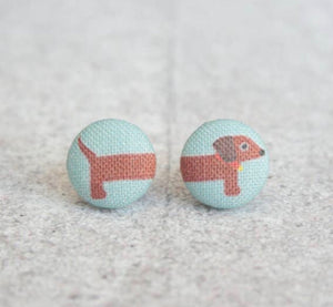 Earring Button Stud Dachshund