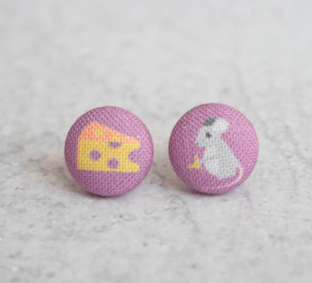 Earring Button Stud Mouse & Cheese