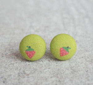 Earring Button Stud Strawberry