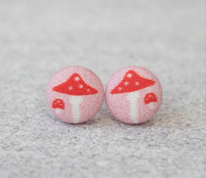 Earring Button Stud Mushrooms