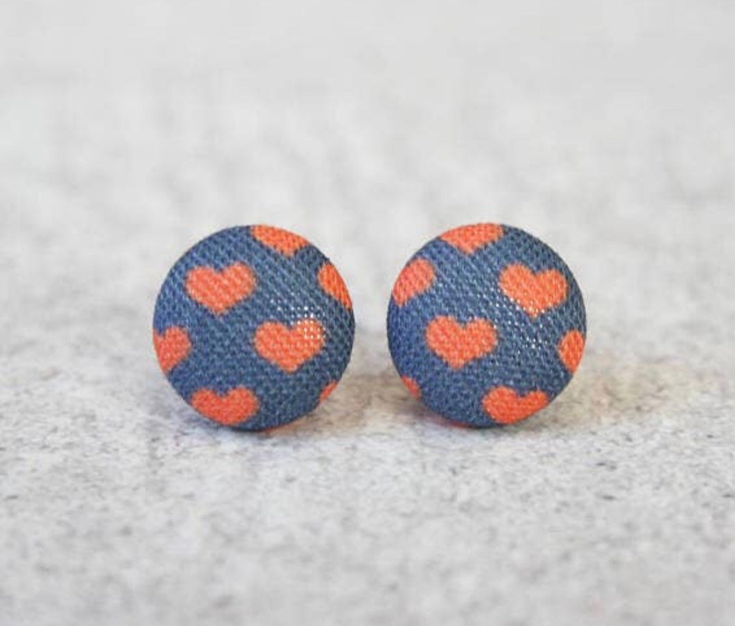 Earring Button Stud Navy Hearts