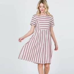 Dress Red Stripe Linen