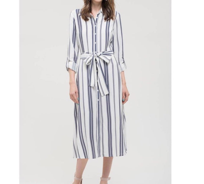 Dress Blue and White Cotton Shirt Dress