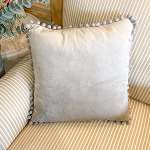 Throw Pillow Gray Velvet with Pom Pom Trim