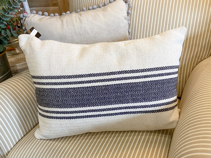 Throw Pillow Lumbar with Black Woven Stripe