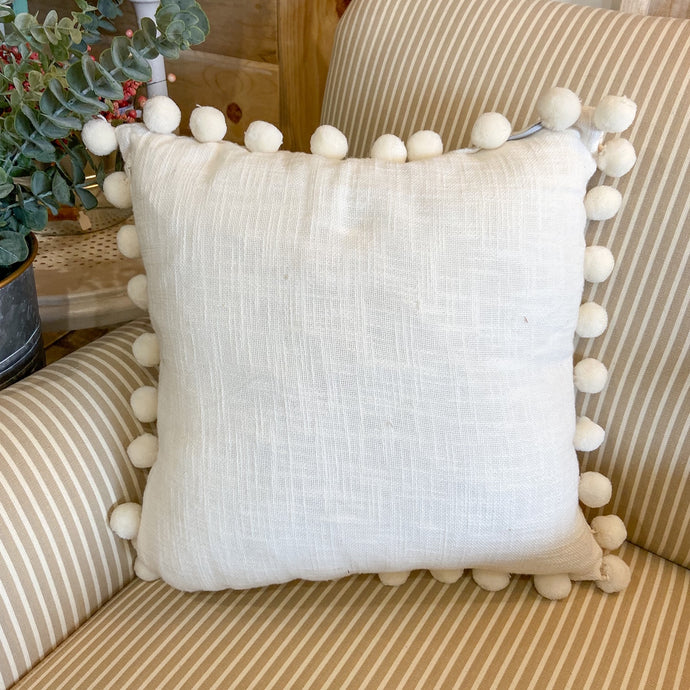 Throw Pillow White With Pom Pom Trim