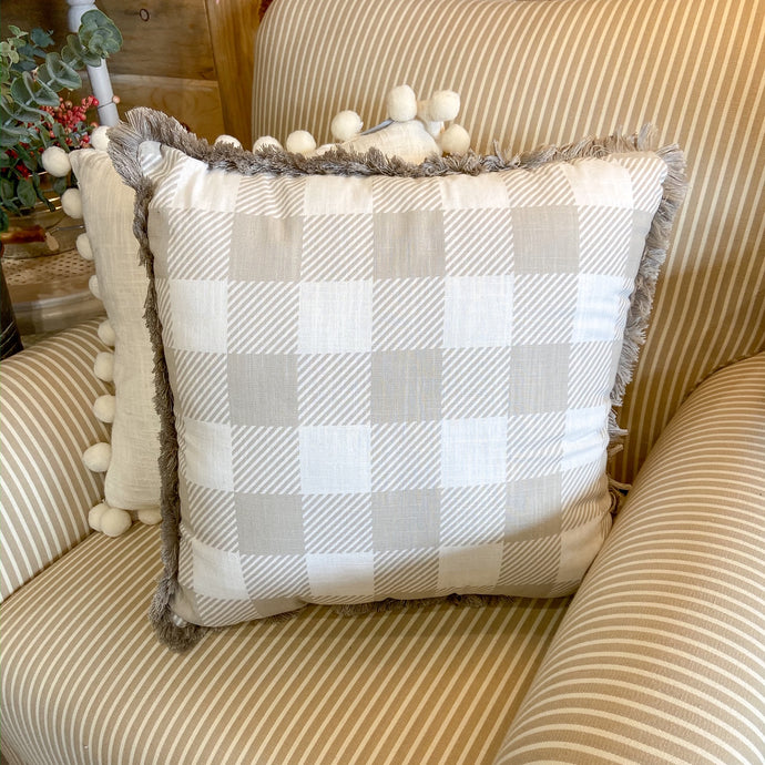 Throw Pillow Tan Buffalo Check Tassel