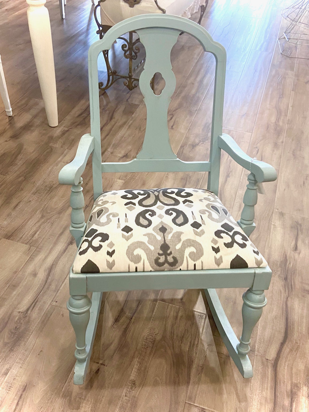 Furniture Powder Blue and Upholstered Children's  Rocker