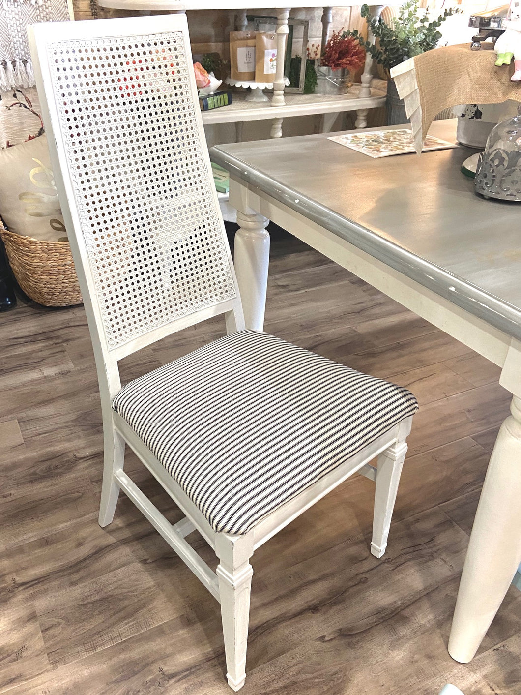 Furniture White Cain Back Chairs with Ticking Upholstery (Set if 2)