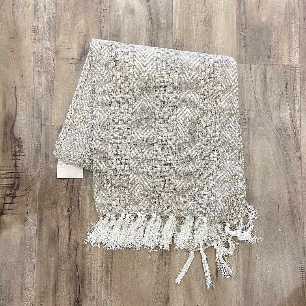 Throw Blanket Taupe Patterned Weave