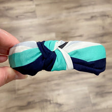 Headband Knot Vintage Teal Stripe