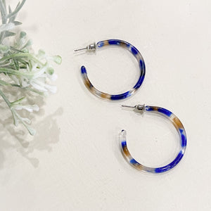 Earring Travel Blue Tortes Resin Hoop