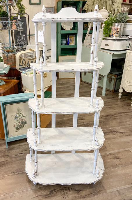 Furniture Large White Vintage Spindle Shelf
