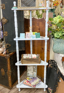 Furniture Vintage Blue Corner Spindle Shelf