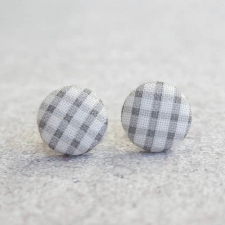 Earring Button Stud Gray Buffalo Check