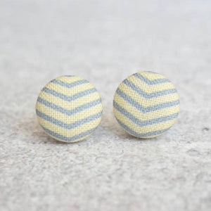 Earring Button Stud Creme & Gray
