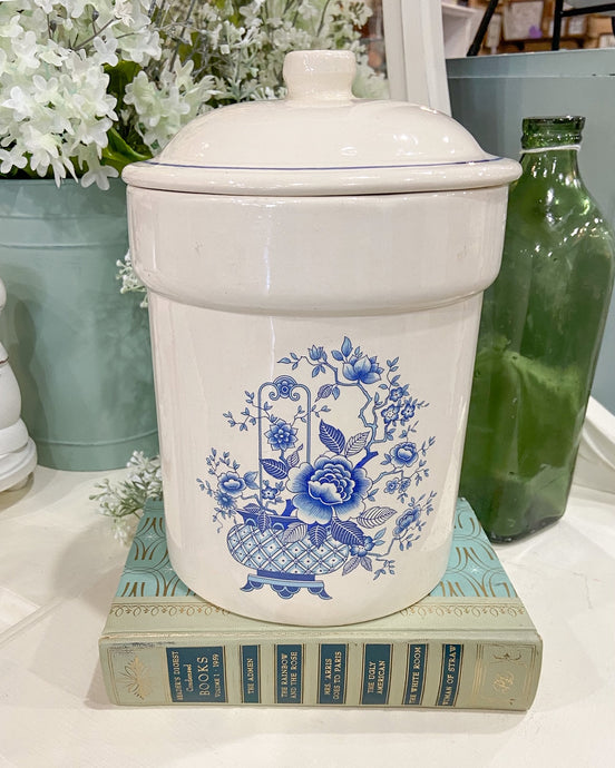 Vintage Blue & White Canister