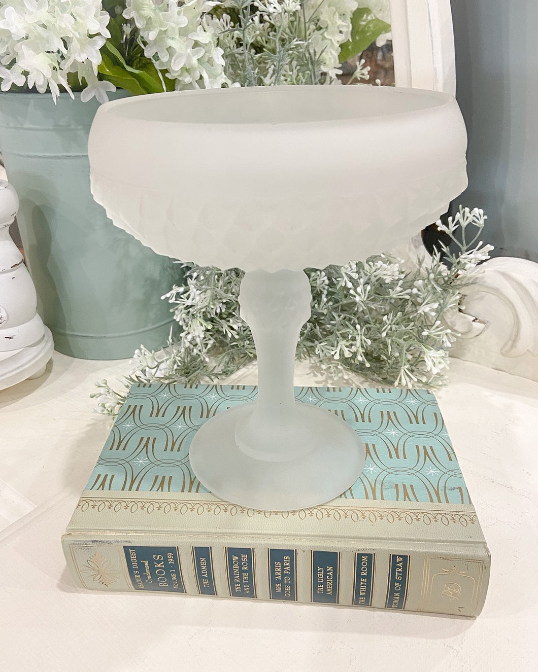Vintage Frosted Cut Glass Candy Dish