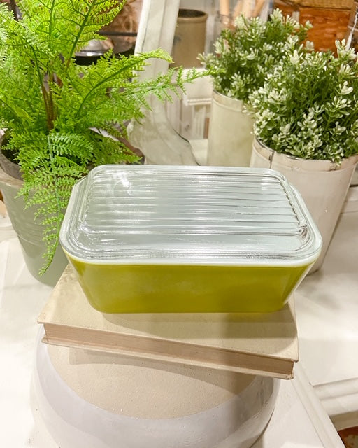 Vintage Pyrex Olive Refrigerator Dish with Lid